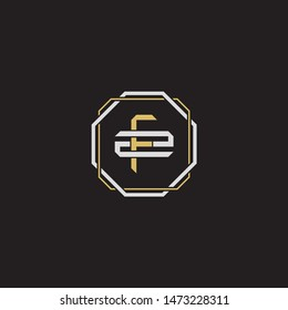 Letter initial FZ F Z ZF monogram logo classic style with emblem hexagon line isolated on black background and gold silver colors combination