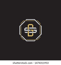 Letter initial GS,G,S,SG monogram logo classic style with emblem hexagon line isolated on black background and gold silver colors combination