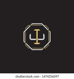 Letter initial IU I U UI monogram logo classic style with emblem hexagon line isolated on black background and gold silver colors combination