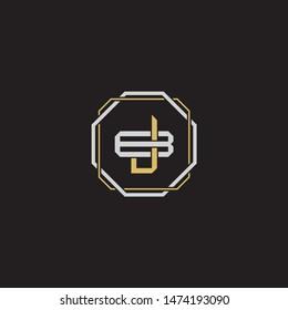 Letter initial JB J B BJ monogram logo classic style with emblem hexagon line isolated on black background and gold silver colors combination
