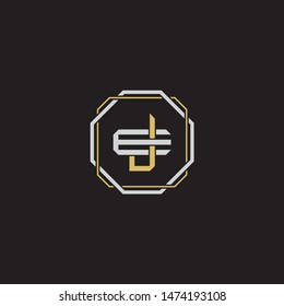 Letter initial JE J E EJ monogram logo classic style with emblem hexagon line isolated on black background and gold silver colors combination