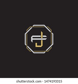 Letter initial JF J F FJ monogram logo classic style with emblem hexagon line isolated on black background and gold silver colors combination