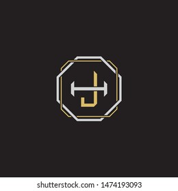Letter initial JH J H HJ monogram logo classic style with emblem hexagon line isolated on black background and gold silver colors combination