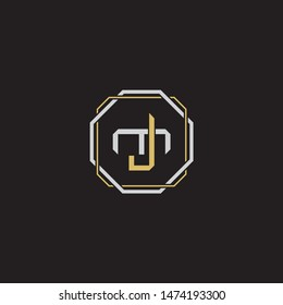 Letter initial JM J M MJ monogram logo classic style with emblem hexagon line isolated on black background and gold silver colors combination