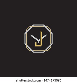 Letter initial JY J Y YJ monogram logo classic style with emblem hexagon line isolated on black background and gold silver colors combination
