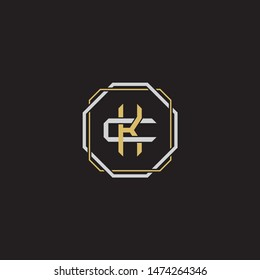 Letter initial KC C K CK monogram logo classic style with emblem hexagon line isolated on black background and gold silver colors combination
