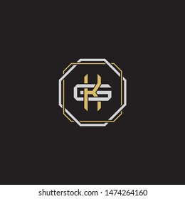Letter initial KG K G GK monogram logo classic style with emblem hexagon line isolated on black background and gold silver colors combination