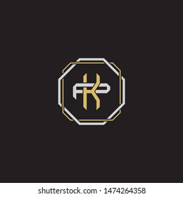 Letter initial KP K P PK monogram logo classic style with emblem hexagon line isolated on black background and gold silver colors combination