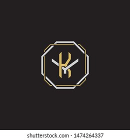 Letter initial KY Y K YK monogram logo classic style with emblem hexagon line isolated on black background and gold silver colors combination