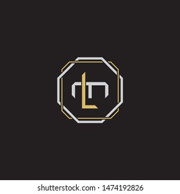 Letter initial LM L M ML monogram logo classic style with emblem hexagon line isolated on black background and gold silver colors combination