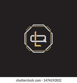 Letter initial LQ L Q QL monogram logo classic style with emblem hexagon line isolated on black background and gold silver colors combination