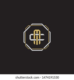 Letter initial MC M C CM monogram logo classic style with emblem hexagon line isolated on black background and gold silver colors combination