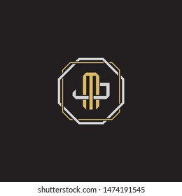 Letter initial MJ M J JM monogram logo classic style with emblem hexagon line isolated on black background and gold silver colors combination