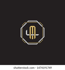 Letter initial ML M L LM monogram logo classic style with emblem hexagon line isolated on black background and gold silver colors combination