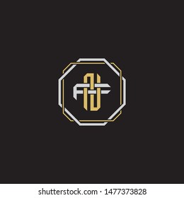 Letter initial NF N F FN monogram logo classic style with emblem hexagon line isolated on black background and gold silver colors combination EPS 10
