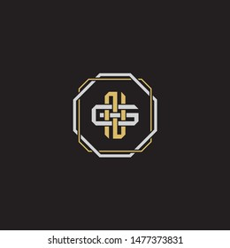 Letter initial NG N G GN  monogram logo classic style with emblem hexagon line isolated on black background and gold silver colors combination EPS 10