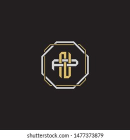 Letter initial NP N P PN monogram logo classic style with emblem hexagon line isolated on black background and gold silver colors combination EPS 10