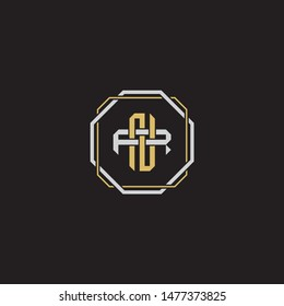 Letter initial NR N R RN monogram logo classic style with emblem hexagon line isolated on black background and gold silver colors combination EPS 10