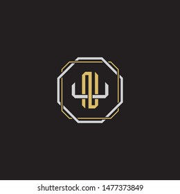 Letter initial NU N U UN  monogram logo classic style with emblem hexagon line isolated on black background and gold silver colors combination EPS 10