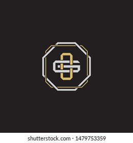 Letter initial OG O G GO monogram logo classic style with emblem hexagon line isolated on black background and gold silver colors