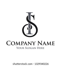 Letter initial SI vector logo template