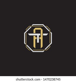 Letter initial AT A T TA monogram logo classic style with emblem hexagon line isolated on black background and gold silver colors combination
