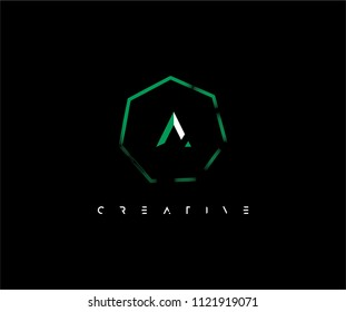 Letter A inside abstract polygon shape futuristic logo design