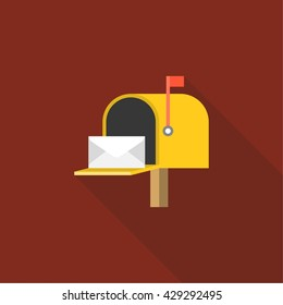letter inside open Yellow mail box  post , flat design isolated with long shadow