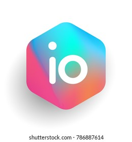 Letter IO logo in hexagon shape and colorful background, letter combination logo design for business and company identity.