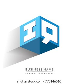 Letter IQ logo in hexagon shape and blue background, cube logo with letter design for company identity.