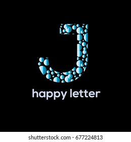 Letter J of the alphabet  vector logo design. Water bubbles brand identity