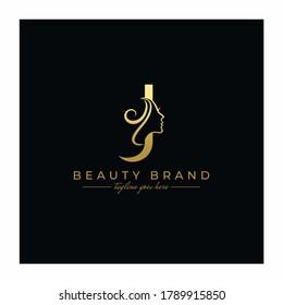 Letter J Beauty Face, Hair Salon Logo Design