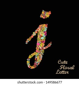The letter j. Bright floral element of colorful alphabet made from flowers, petals, hearts and twigs. Summer floral ABC element in vector