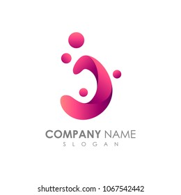 Letter J With Bubble, Initial Letter Logo For Your Company Name, Alphabet Logo Template Ready For Use, Modern Initial Logo