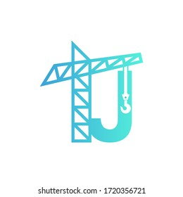 Letter J Building Construction Logo Design Vector
