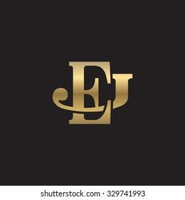 letter J and E monogram golden logo