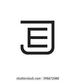 letter J and E monogram square shape logo black