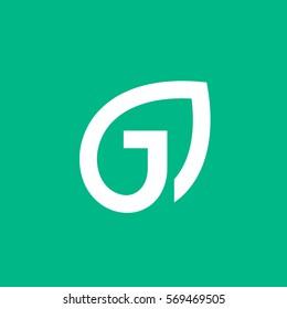 Letter J eco leaves logo icon design template elements
