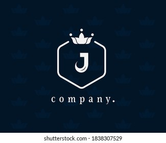 Letter J floral and royal style crown logo. Vintage emblem and graceful vector template ready to use for book design, hotel, restaurant, business identity, business card, boutique, cafe, wedding.