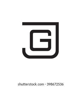 letter J and G monogram square shape logo black