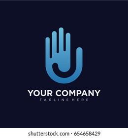 Letter J Hand Logo Template Design