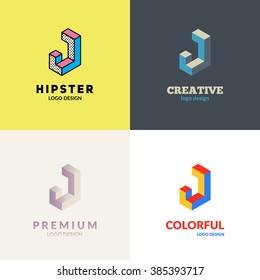 """Letter """"J"""" isometric logo design set."""