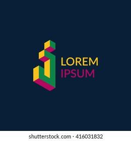 """Letter """"J"""" isometric logo design."""