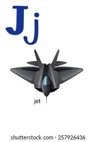 Letter J for jet on a white background