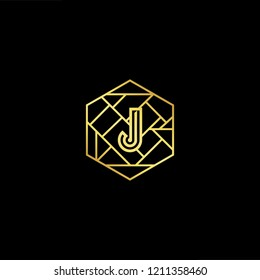 letter J JJ minimalist art monogram hexogen shape logo, white color on black background