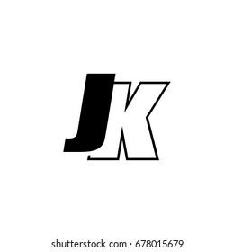 letter J and K logo overlapping black negative