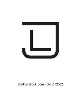 letter J and L monogram square shape logo black