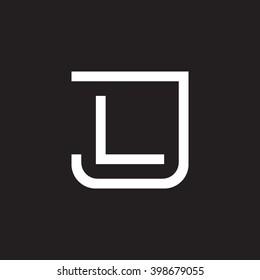 letter J and L monogram square shape logo white black background