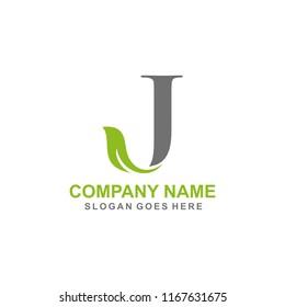 Letter J leaf initial logo template