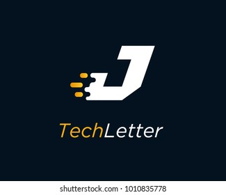 Letter J Logo Design Template With Fast Speed
